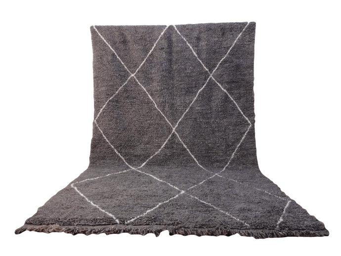 Moroccan Beni Ourain Wool Rug - Gray Diamond
