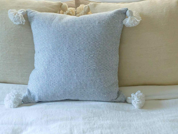 Moroccan Pom Pom Pillow Cover - Light Gray Cotton