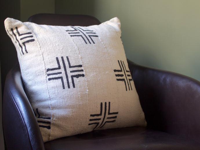 Mudcloth Pillow Cover - White Cross