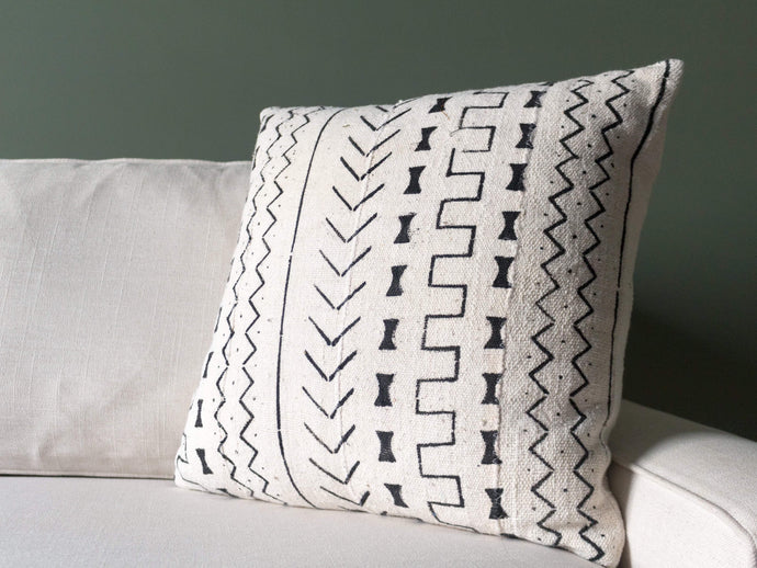 Mudcloth Pillow Cover - Bogolanfini White