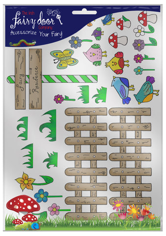 Fairy Door Sticker Set - Brown Fence