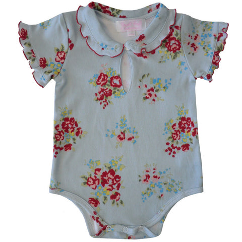 Blue Floral Baby Grow