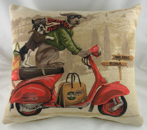 Scooter Dogs Cushion - Red