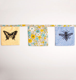 Butterflies and Bee's Floral Fabric Bunting