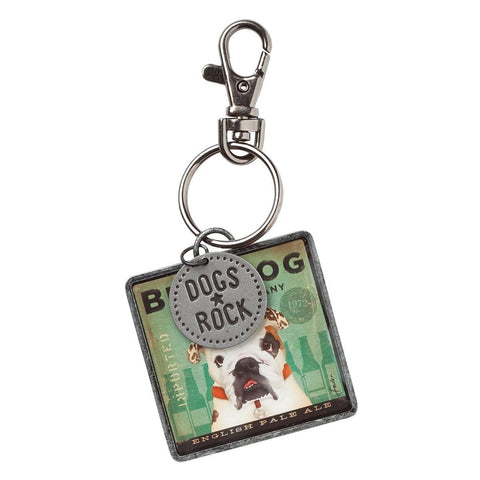 "Bulldog ""Dogs Rock"" Keyring"