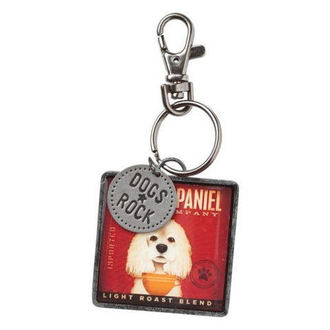 "Cocker Spaniel ""Dogs Rock"" Keyring"