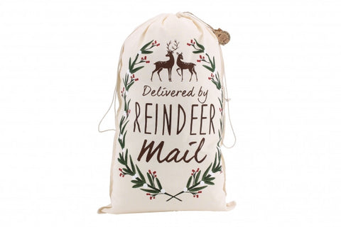 'Delivered By Reindeer Mail' Canvas Sack