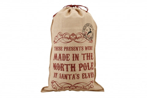 'These Presents Were Made In The North Pole By Santa's Elves' Hessian Sack