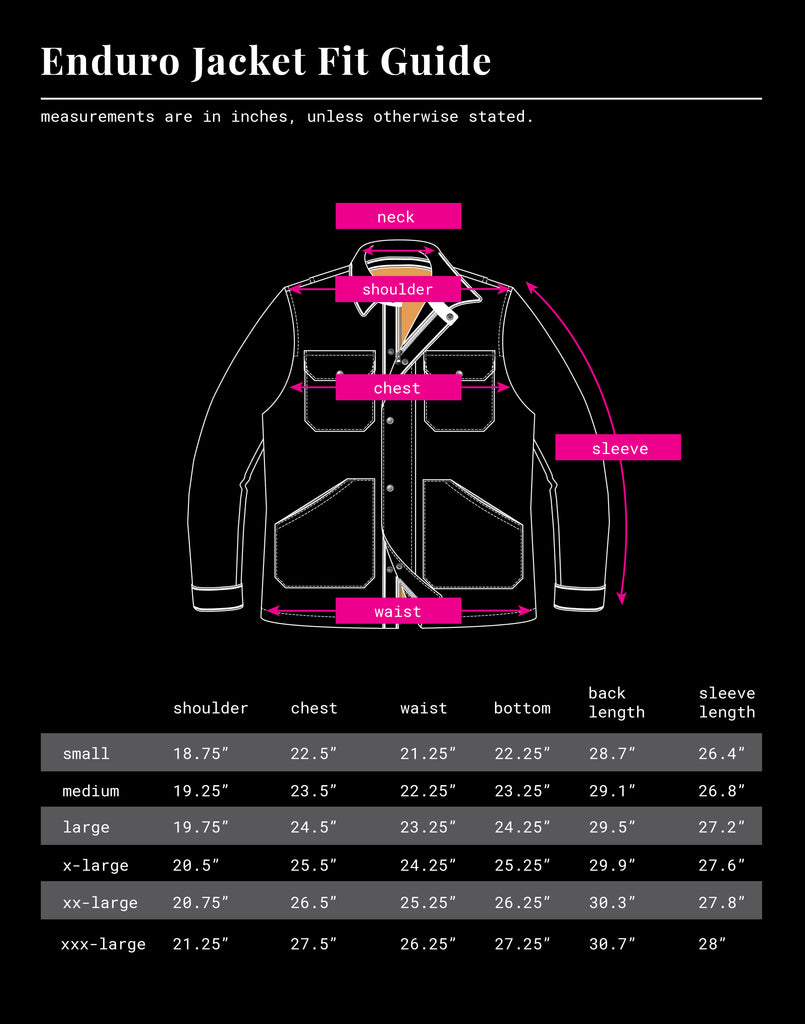 Iron & Resin Enduro Jacket Size Chart