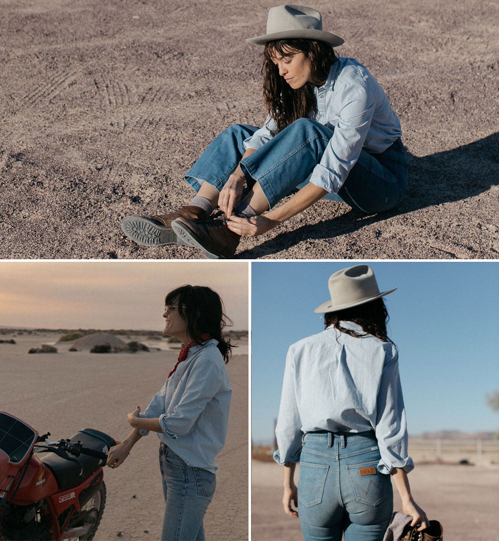 iron and resin chambray field shirt girl with cowboy hat in the desert