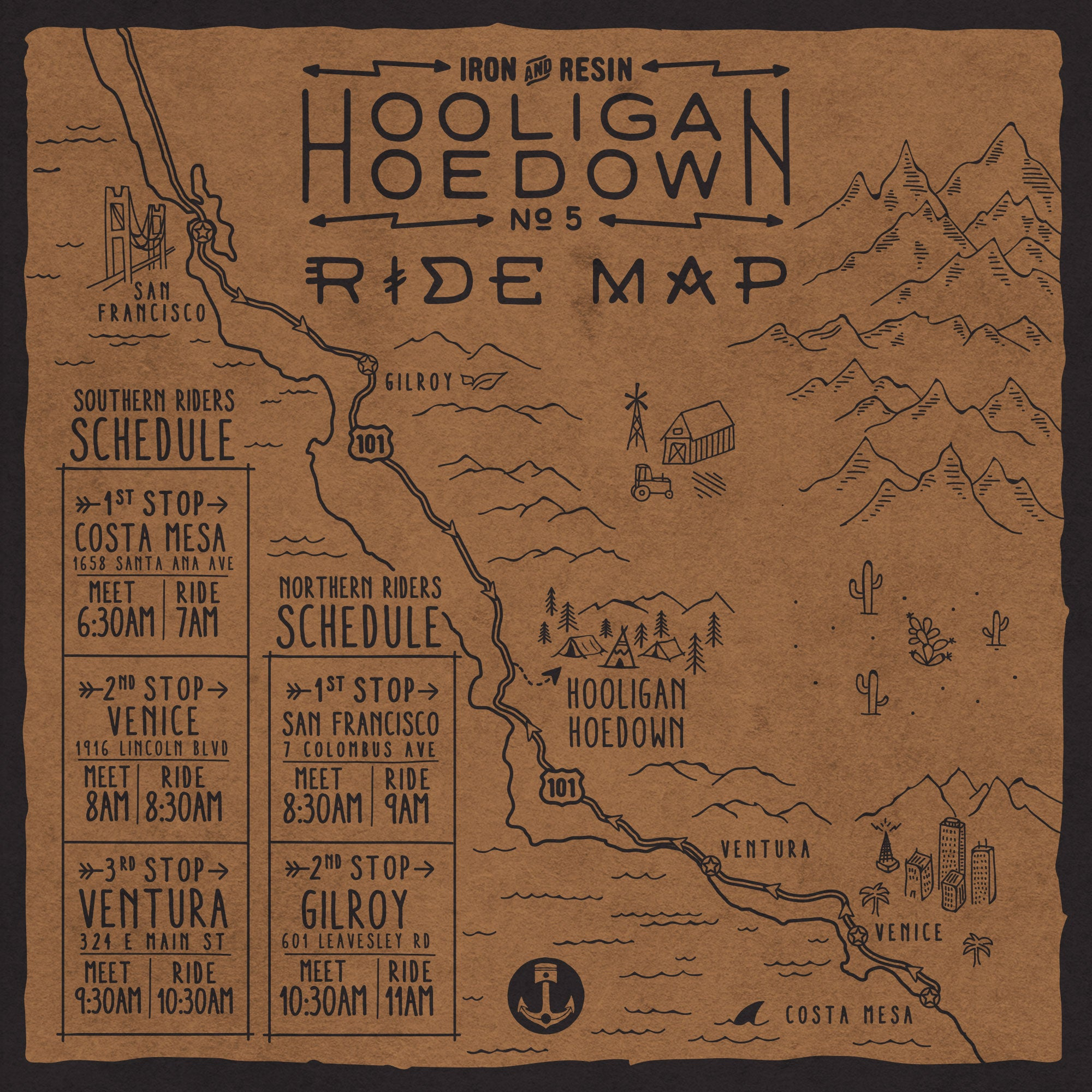 Hooligan Hoedown White Buffalo Ride Map