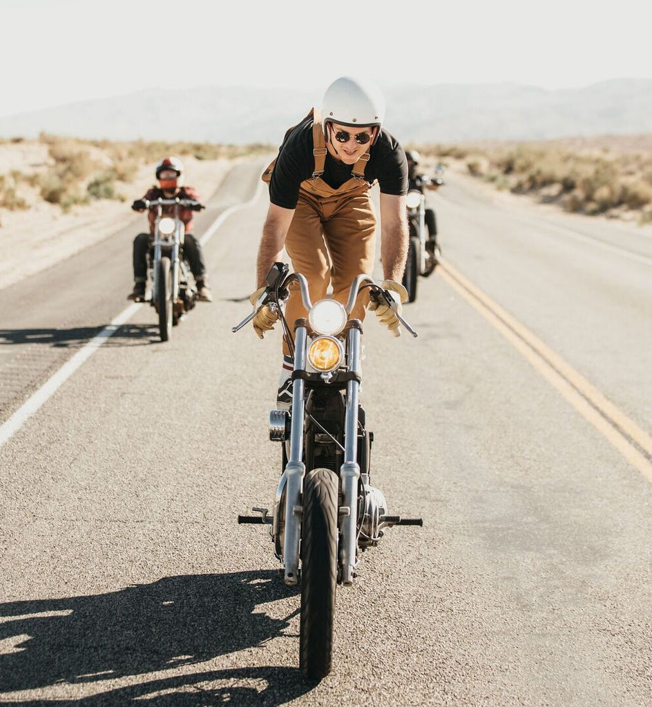 motorcycle surfing in iron and resin tatham overalls