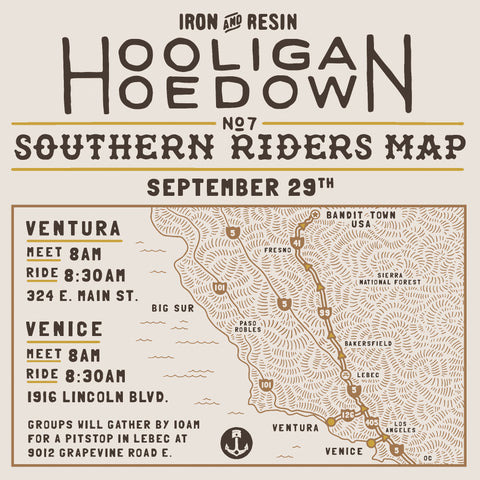 Hooligan Hoedown Southern California Ride Route Map