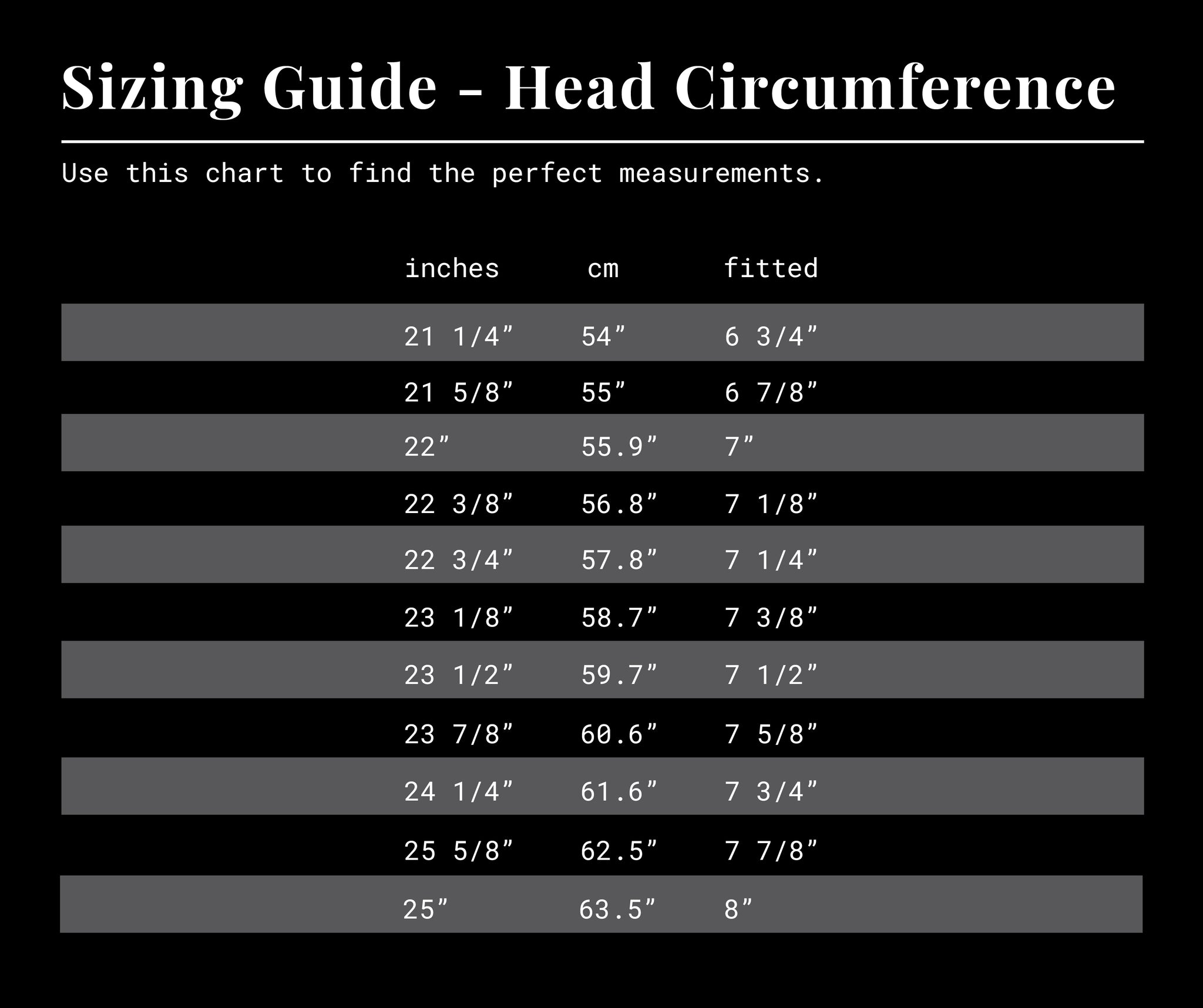 INR x The Salt Ranch Hat Sizing Guide