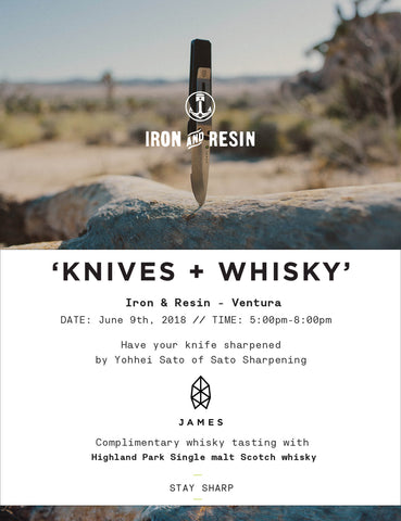 Iron and Resin Knives n' Whisky Retail Store Event