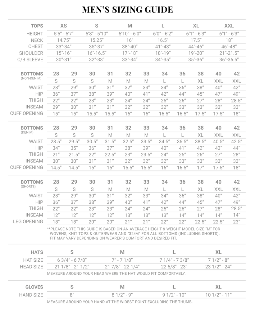Iron and Resin clothing mens size chart