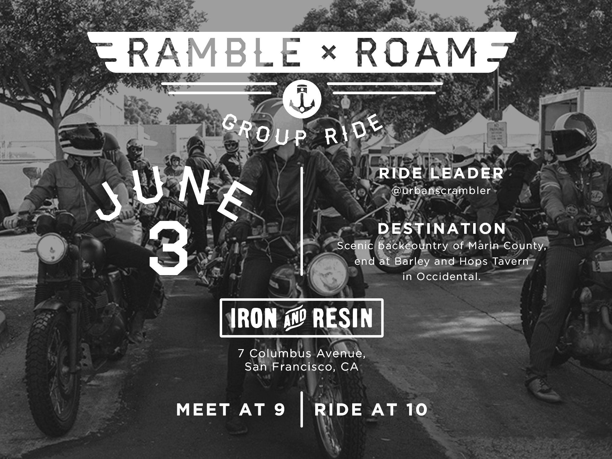 ramble x roam san francisco group ride motorcycle