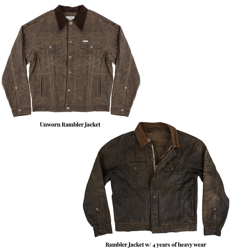 iron and resin waxed canvas rambler jacket broken in
