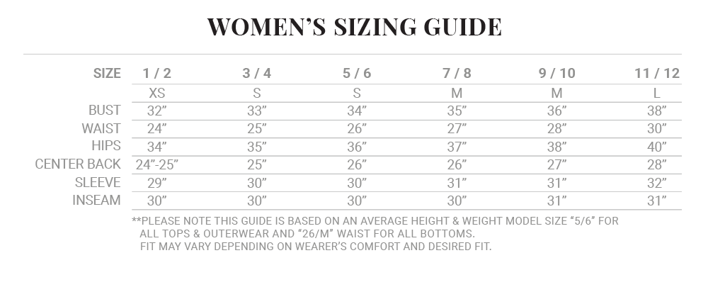 Iron and Resin clothing womens size chart