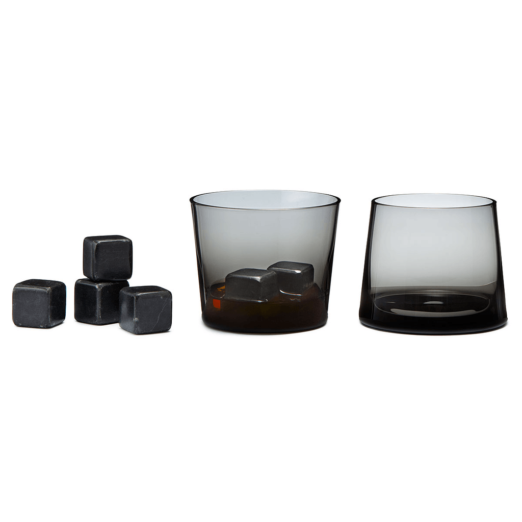 Whiskey Stones Set, Black -  Set of 9 - Kitchenware - Iron and Resin