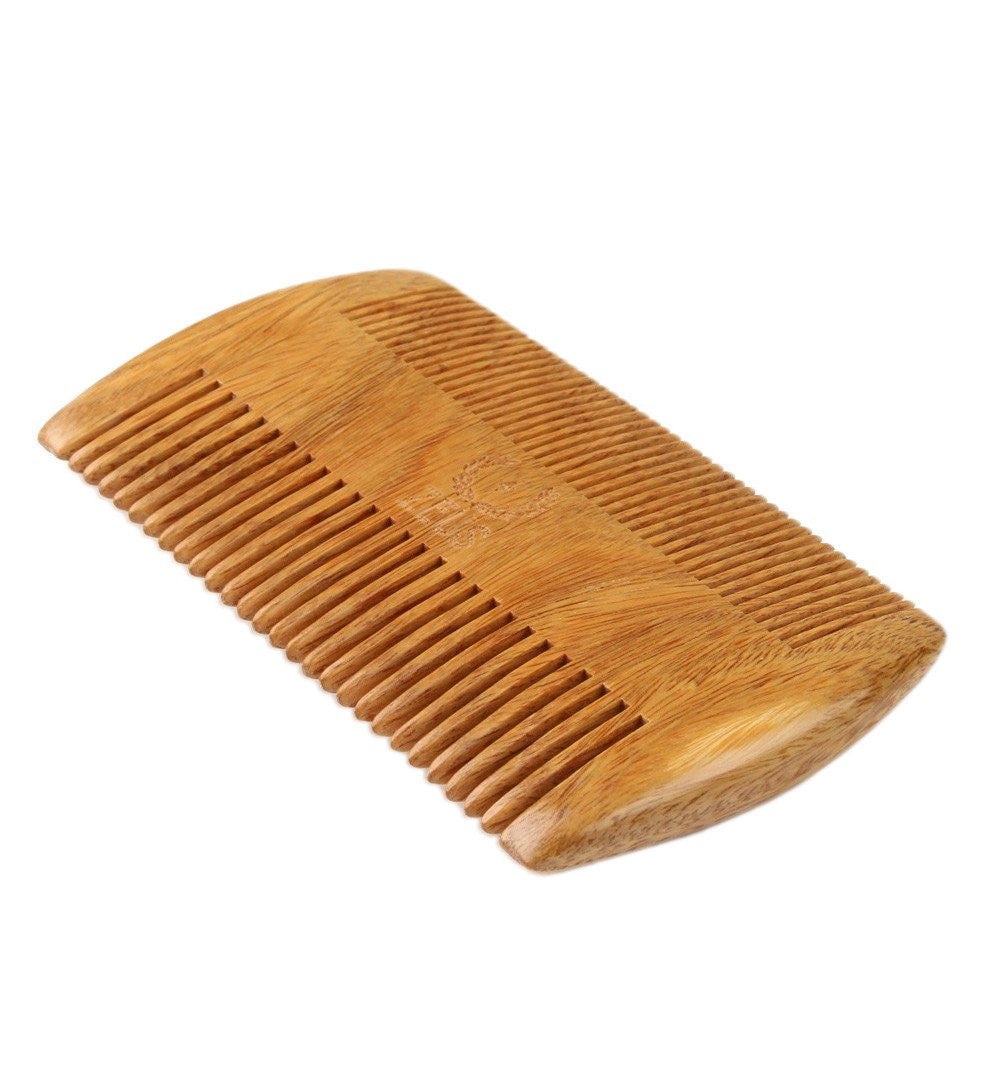 Zeus Two-Sided Organic Sandalwood Comb in Leather Sheath - Grooming - Iron and Resin