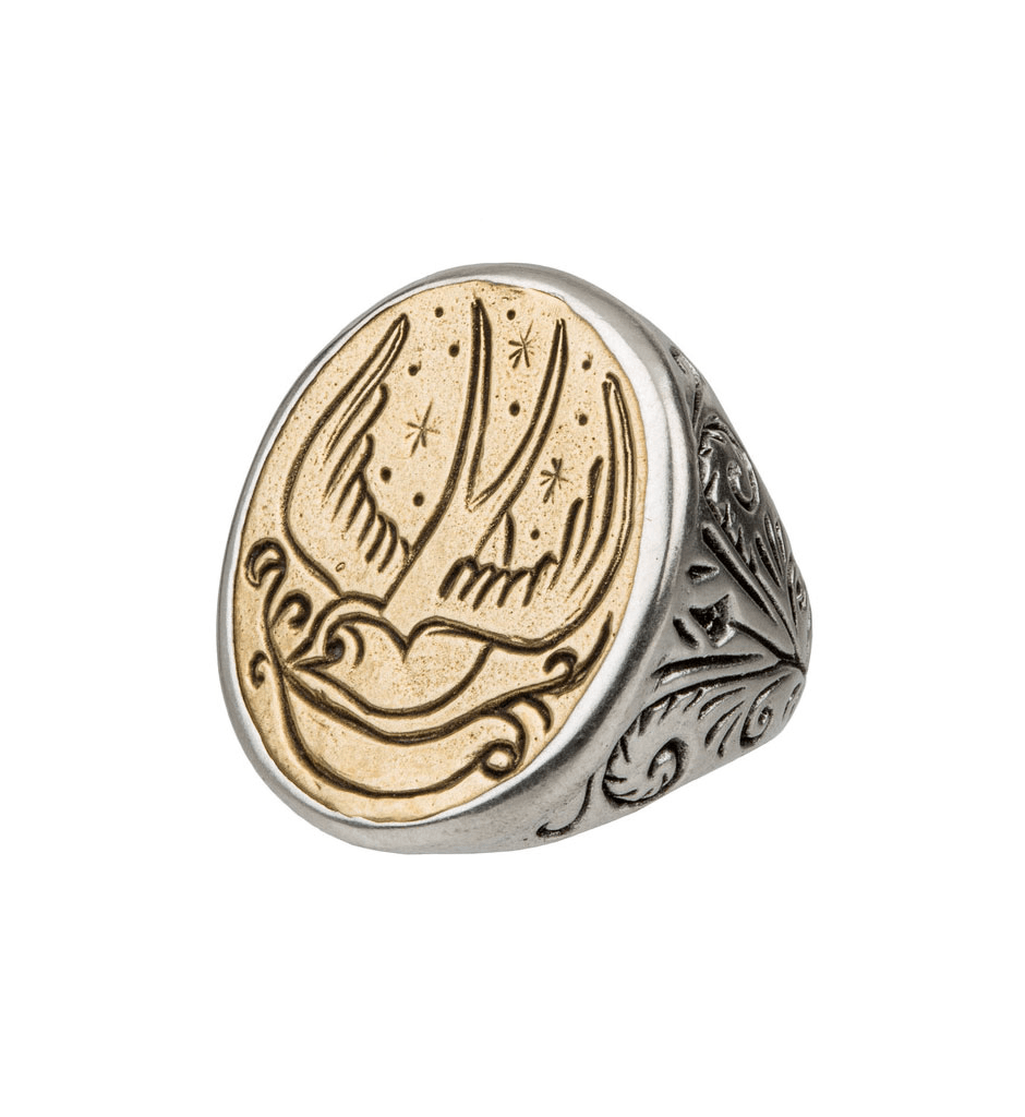 LHN Swallow Signet Ring - Jewelry: Men's - Iron and Resin