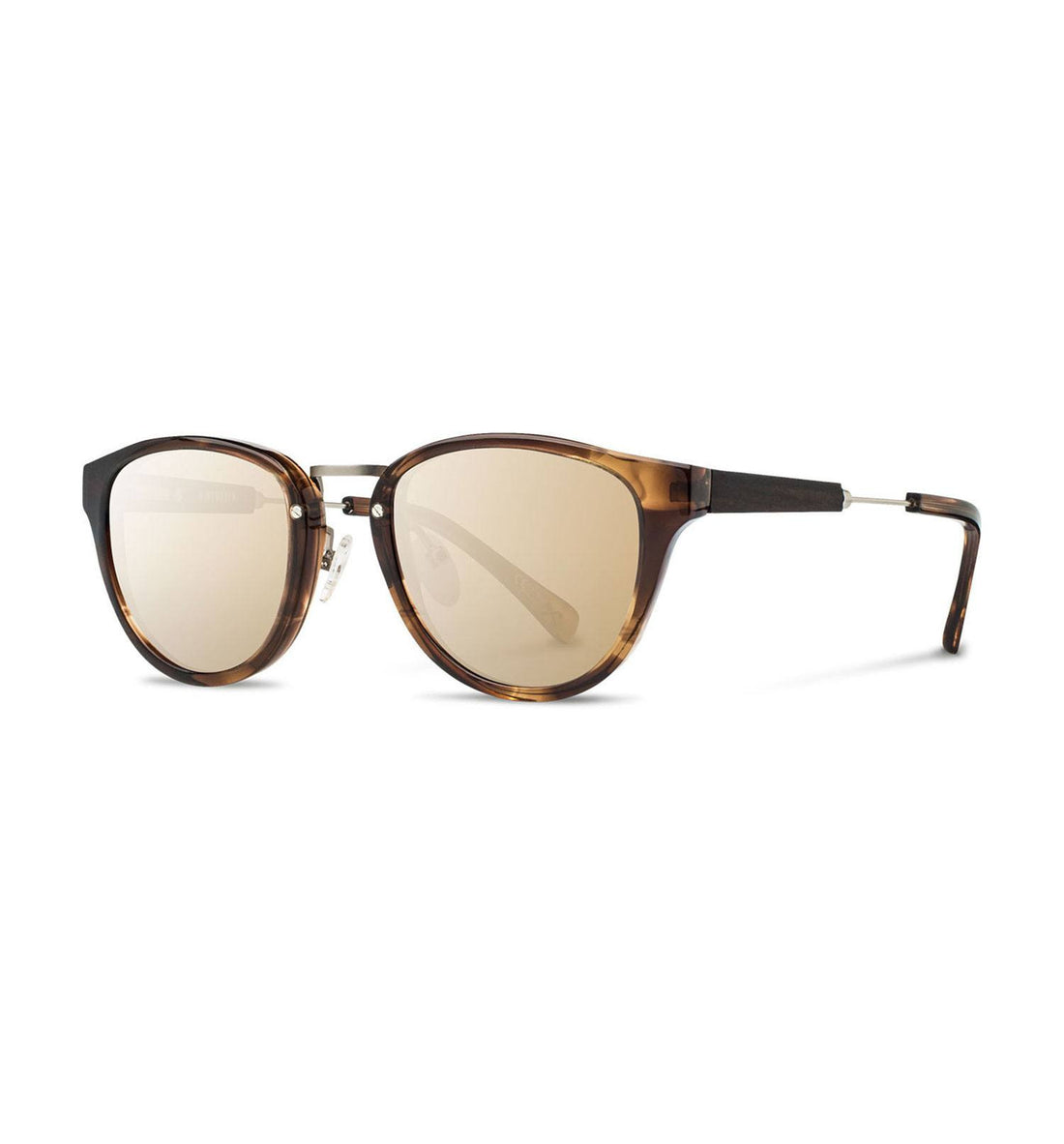 Shwood Ainsworth, Bourbon & Matte Silver, Gold Mirror - Sunglasses - Iron and Resin