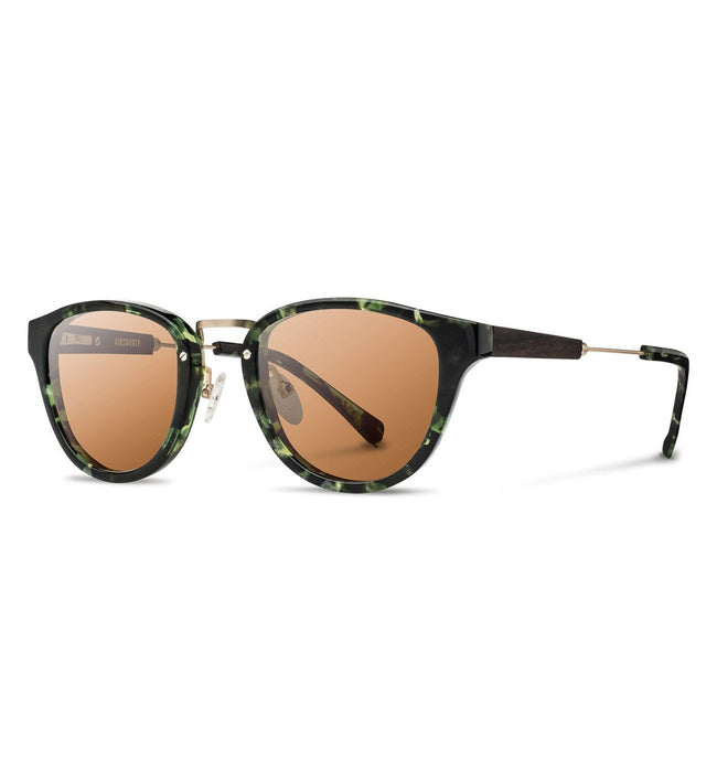 Shwood Ainsworth, Dark Forest & Matte Gold - Brown - Accessories: Eyewear - Iron and Resin
