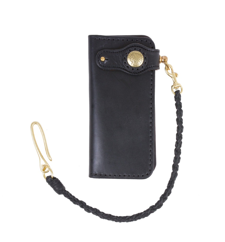 Cult Classic Leather American Long Wallet, Black w/braid