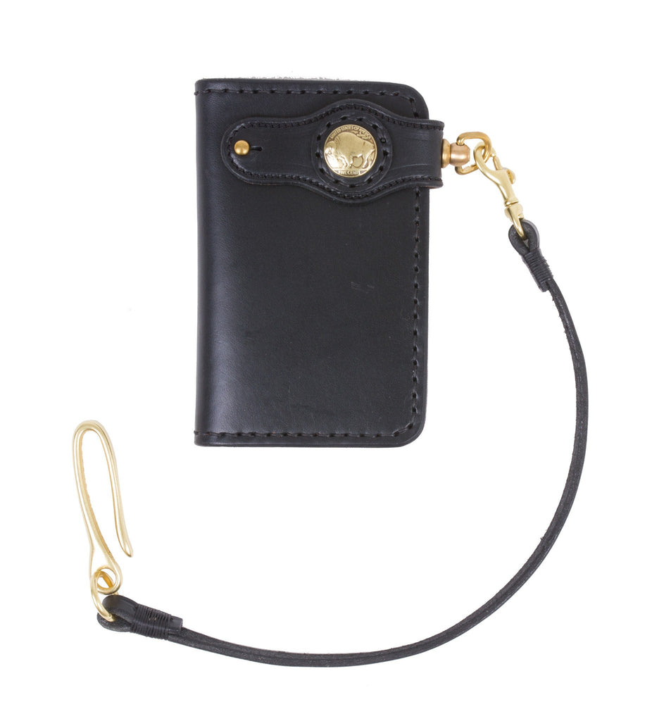 Cult Classic Leather American Mid Wallet, Black w/strap