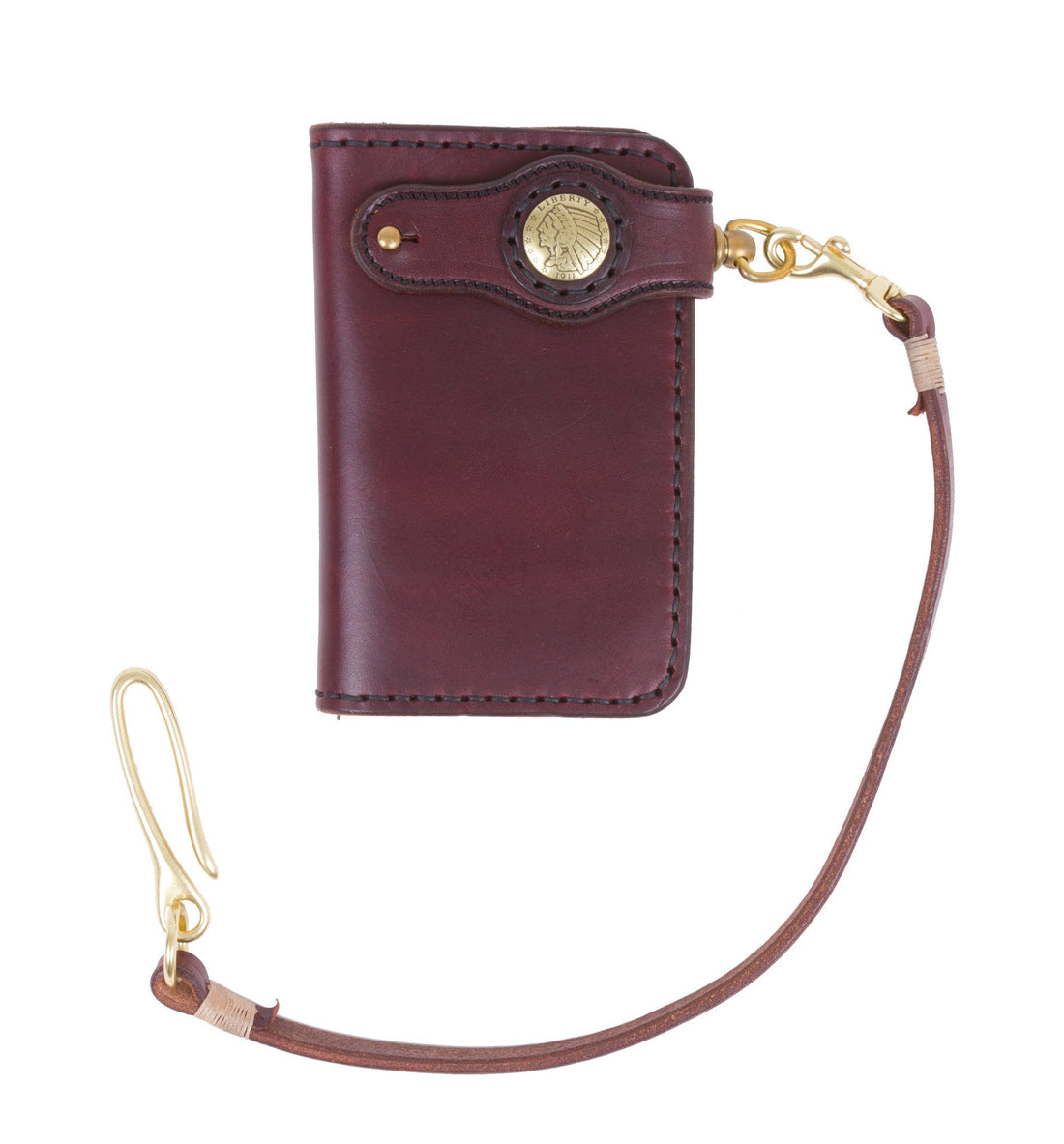 Cult Classic Leather American Mid Wallet, Brown w/strap - Accessories: Wallets - Iron and Resin