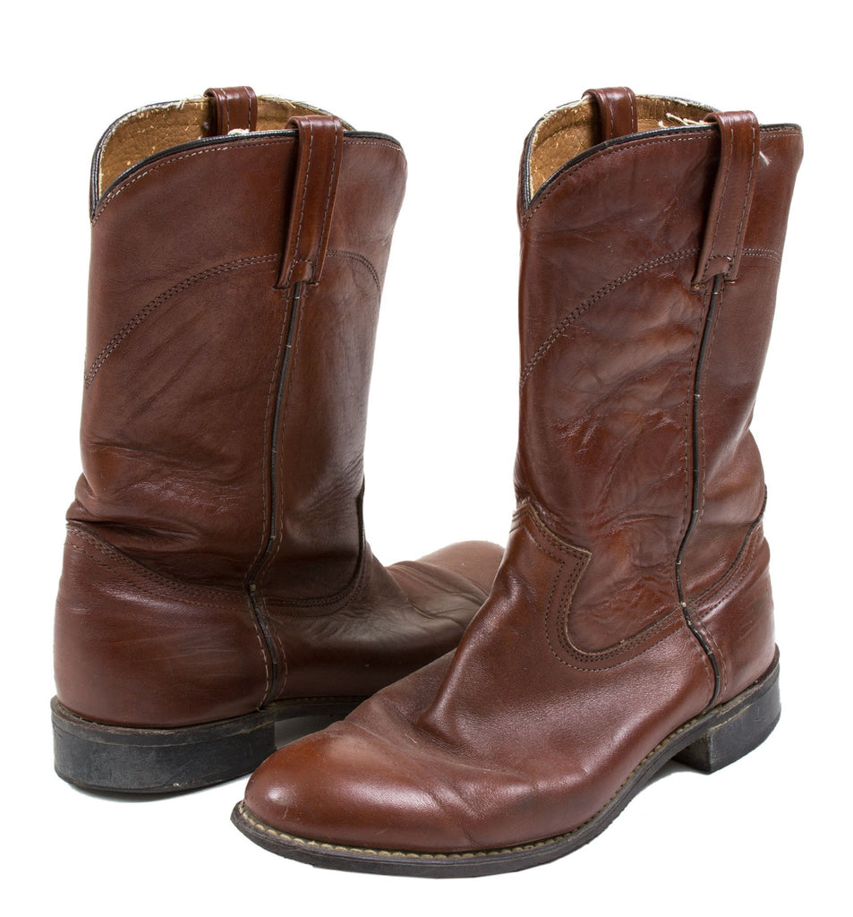 Vintage Brown Leather Boots- 9