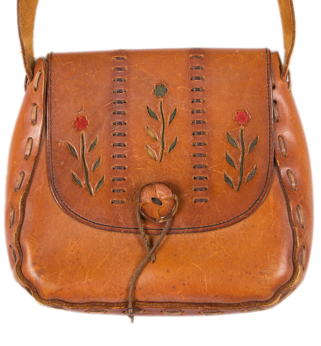 Vintage Leather Tooled Bag - Vintage - Iron and Resin