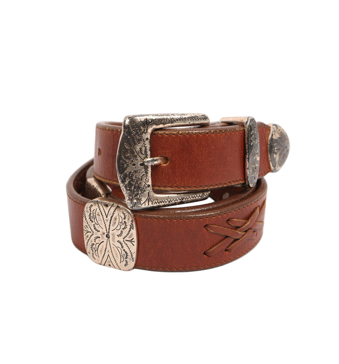 Vintage Leather Belt w/ Metal Embelishment - Vintage: Other - Iron and Resin