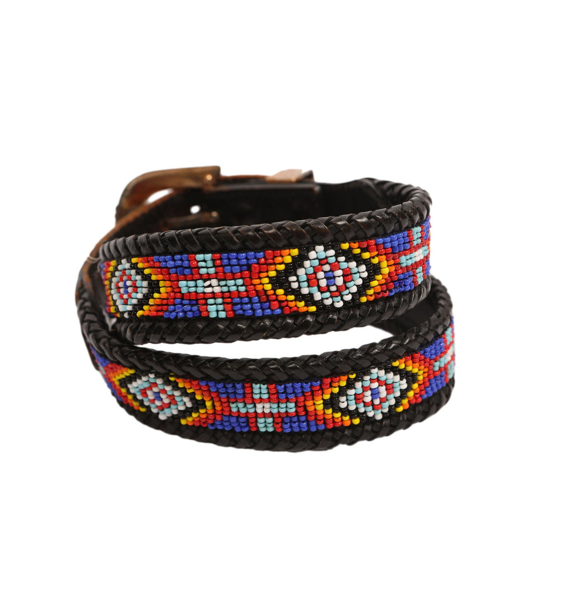 Vintage Black Leather Navajo Beaded Belt - Vintage: Other - Iron and Resin