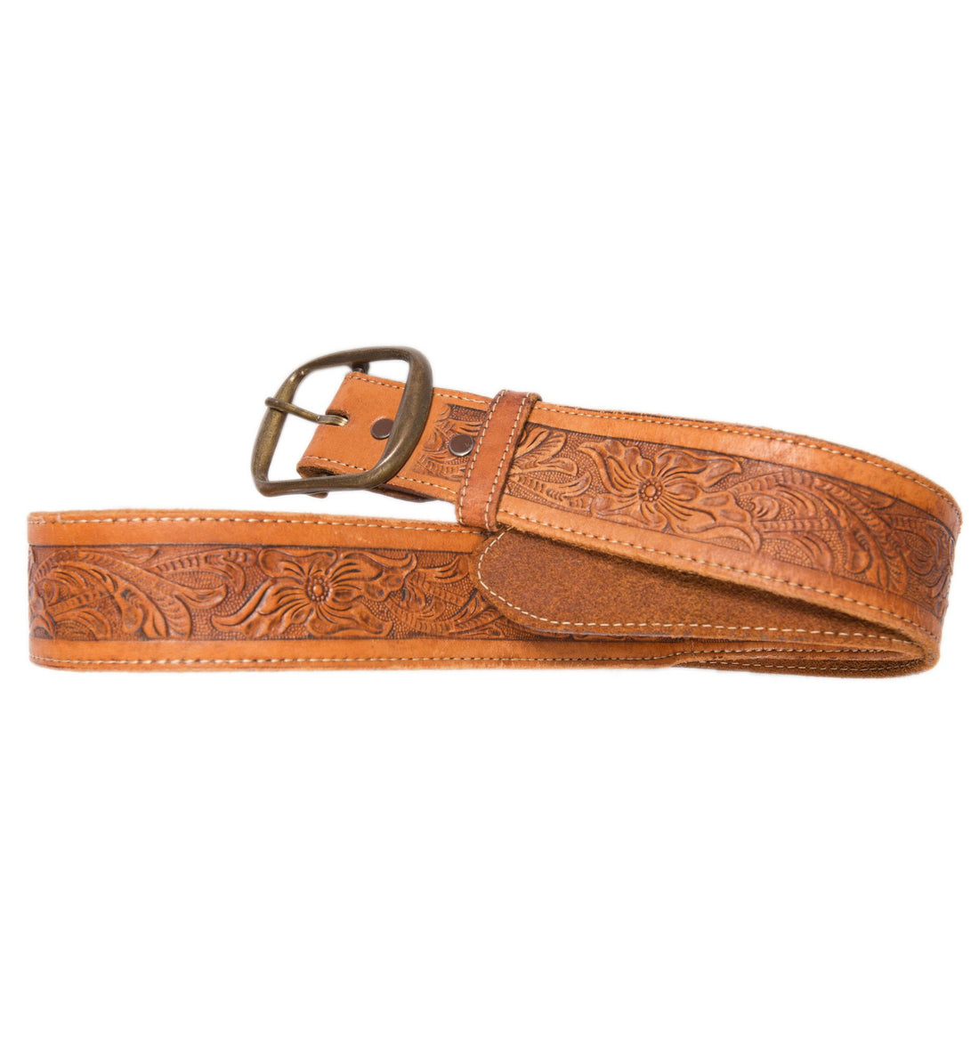 Vintage Tooled Leather Belt - Vintage - Iron and Resin