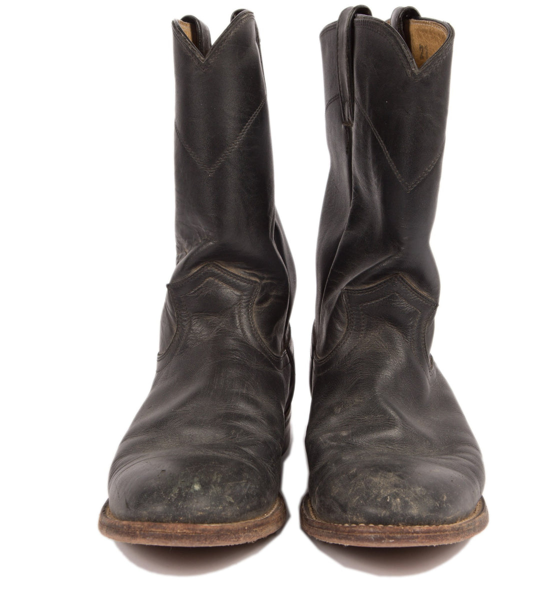 Vintage Black Leather Justin Boots, 7 1/2