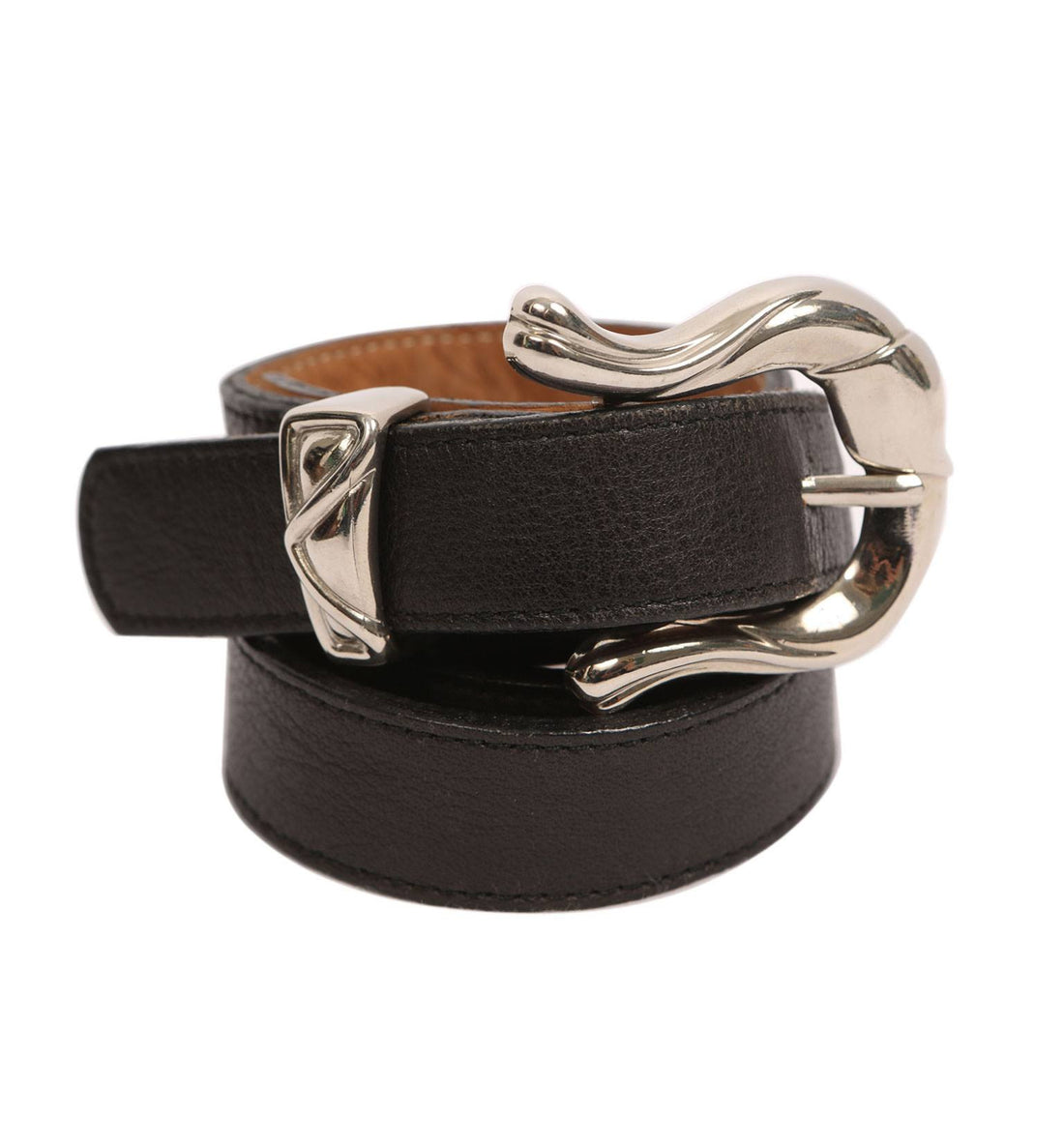 Vintage Leather Black Belt - Vintage: Women's - Iron and Resin