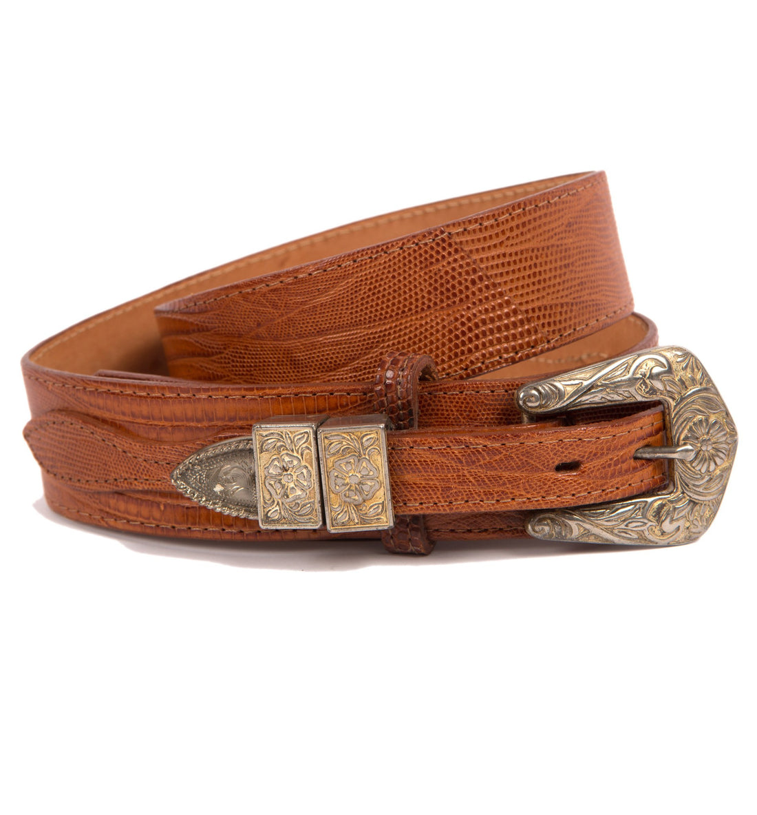Vintage Justin Brn Lizard Skin Belt - Vintage - Iron and Resin