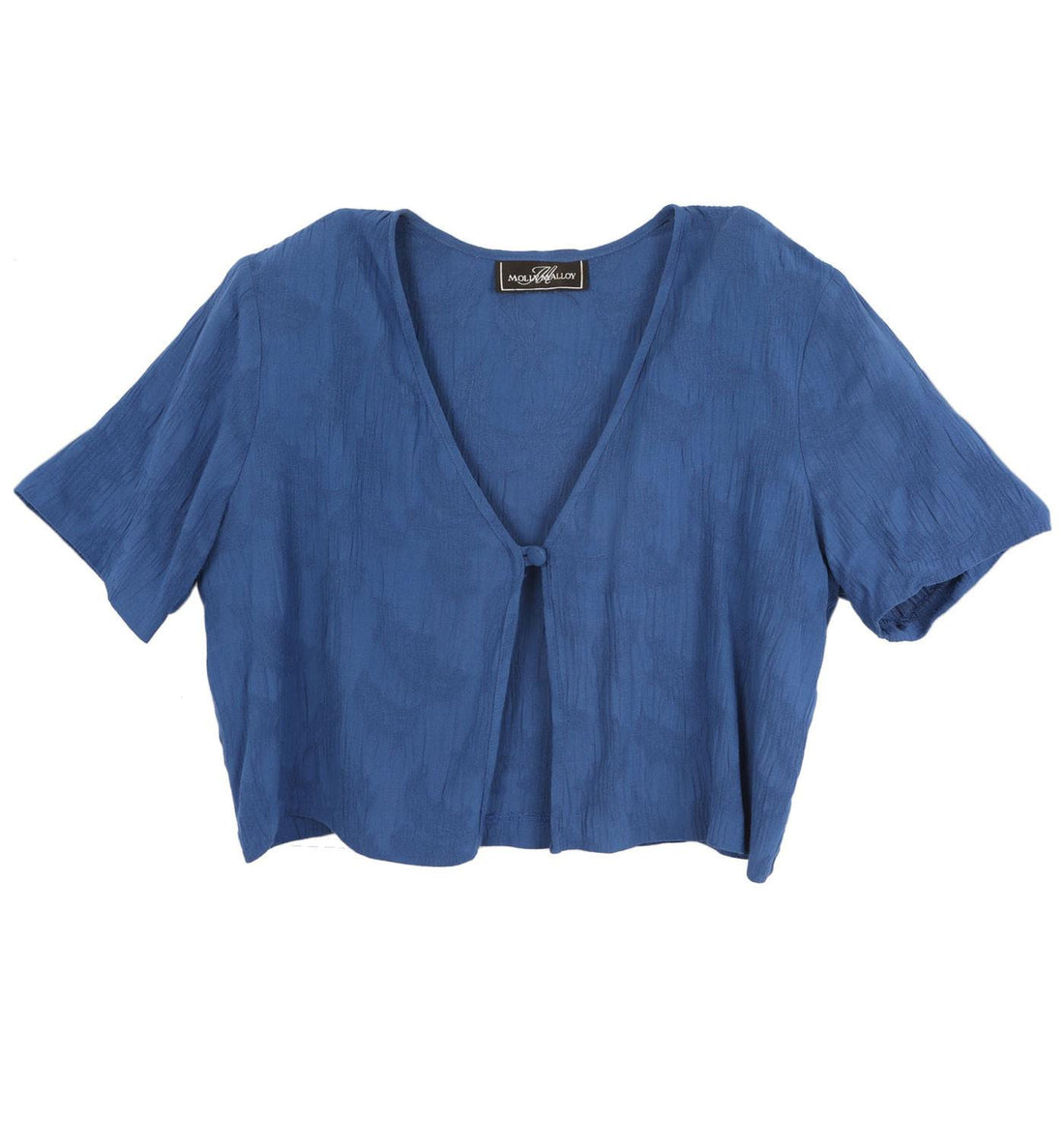 Vintage Blue Crop Top Blouse