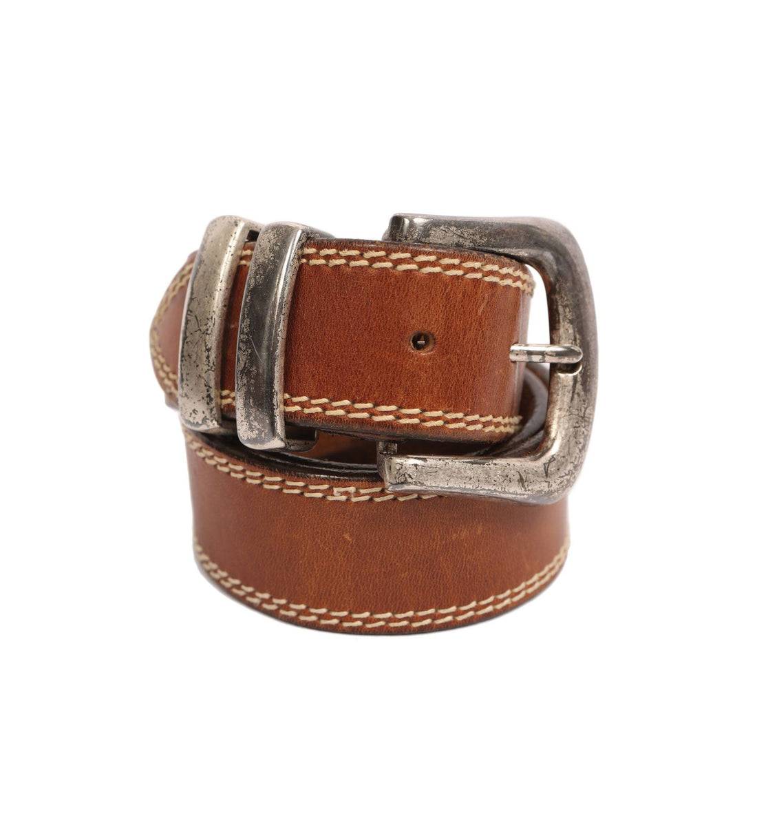 Vintage Brown Leather Double Stitch Belt - Vintage: Other - Iron and Resin