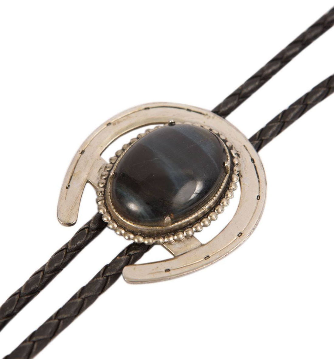 Vintage Horseshoe Black Bolo Tie - Vintage - Iron and Resin