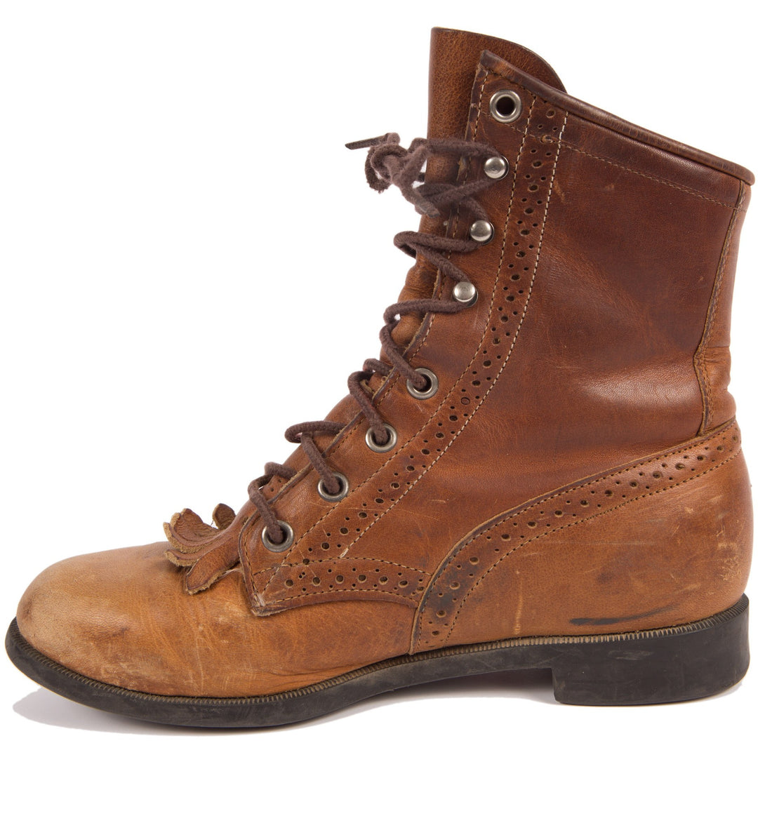 Vintage 70's Brown Justin Lace up Boots, 7 1/2 - Vintage: Women's: Shoes - Iron and Resin