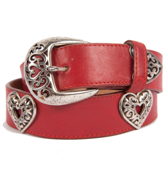 Vintage Brighton Red Leather Heart Metal Belt