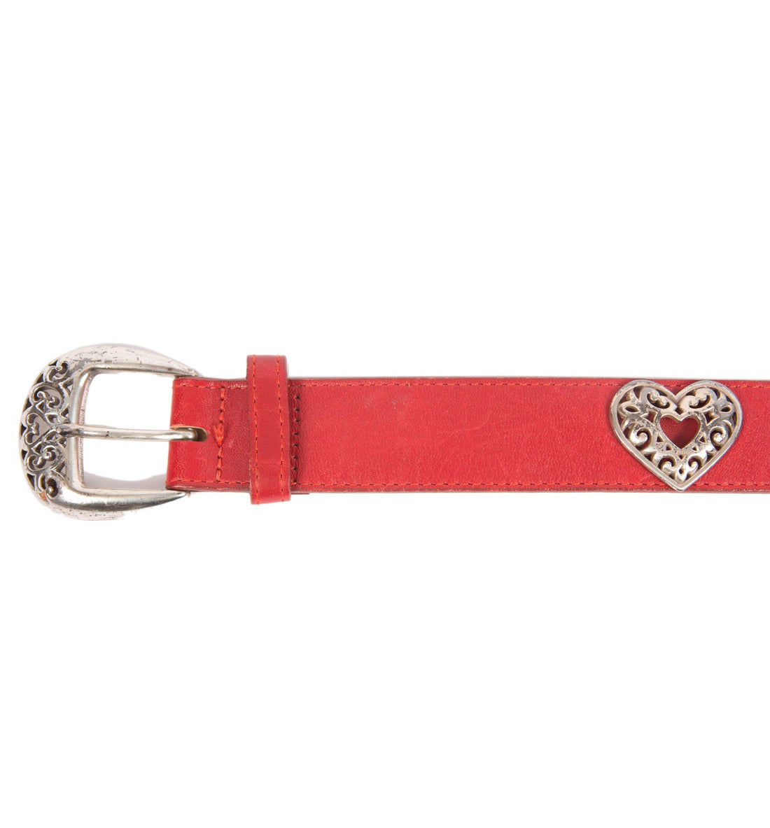 Vintage Brighton Red Leather Heart Metal Belt - Vintage - Iron and Resin