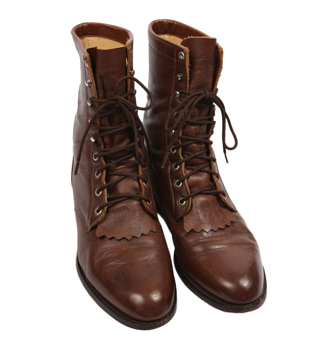 Vintage Walnut Leather Justin Boots - Vintage: Men's: Shoes - Iron and Resin