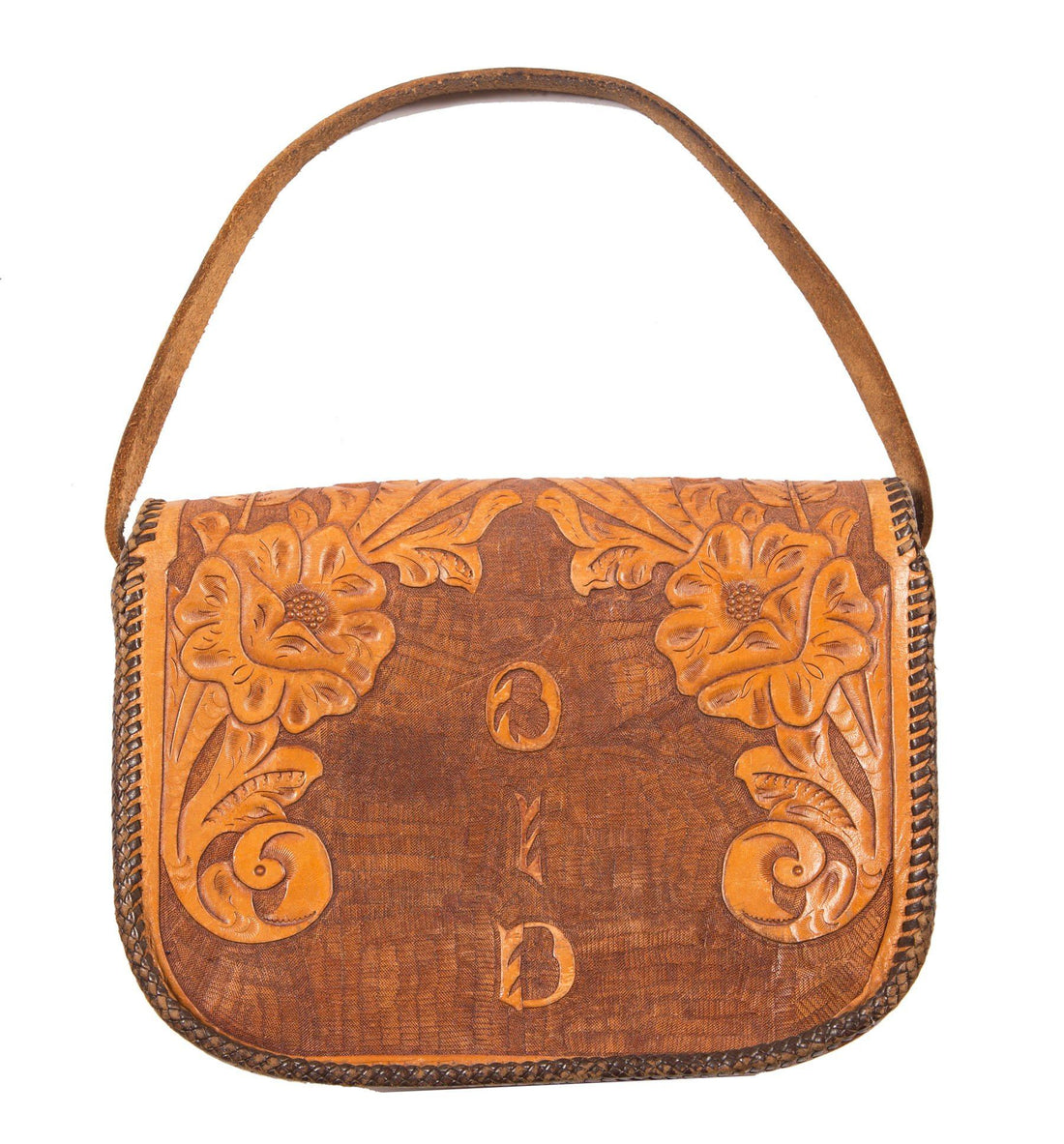 60's Leather Tooled Purse - Vintage - Iron and Resin
