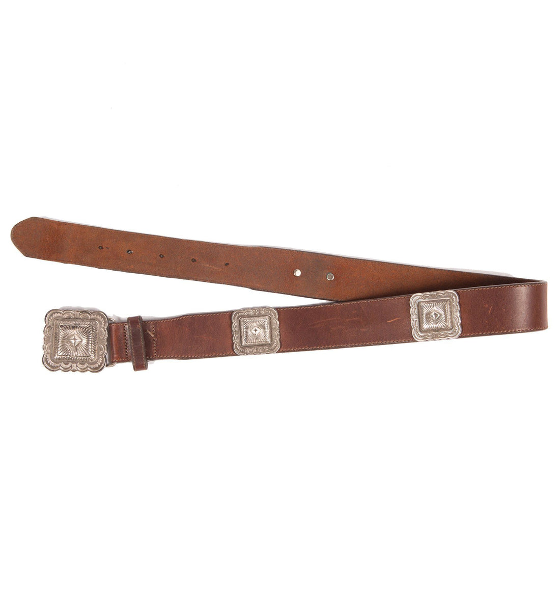 90's The Territory Ahead Leather Concho Belt - Vintage - Iron and Resin