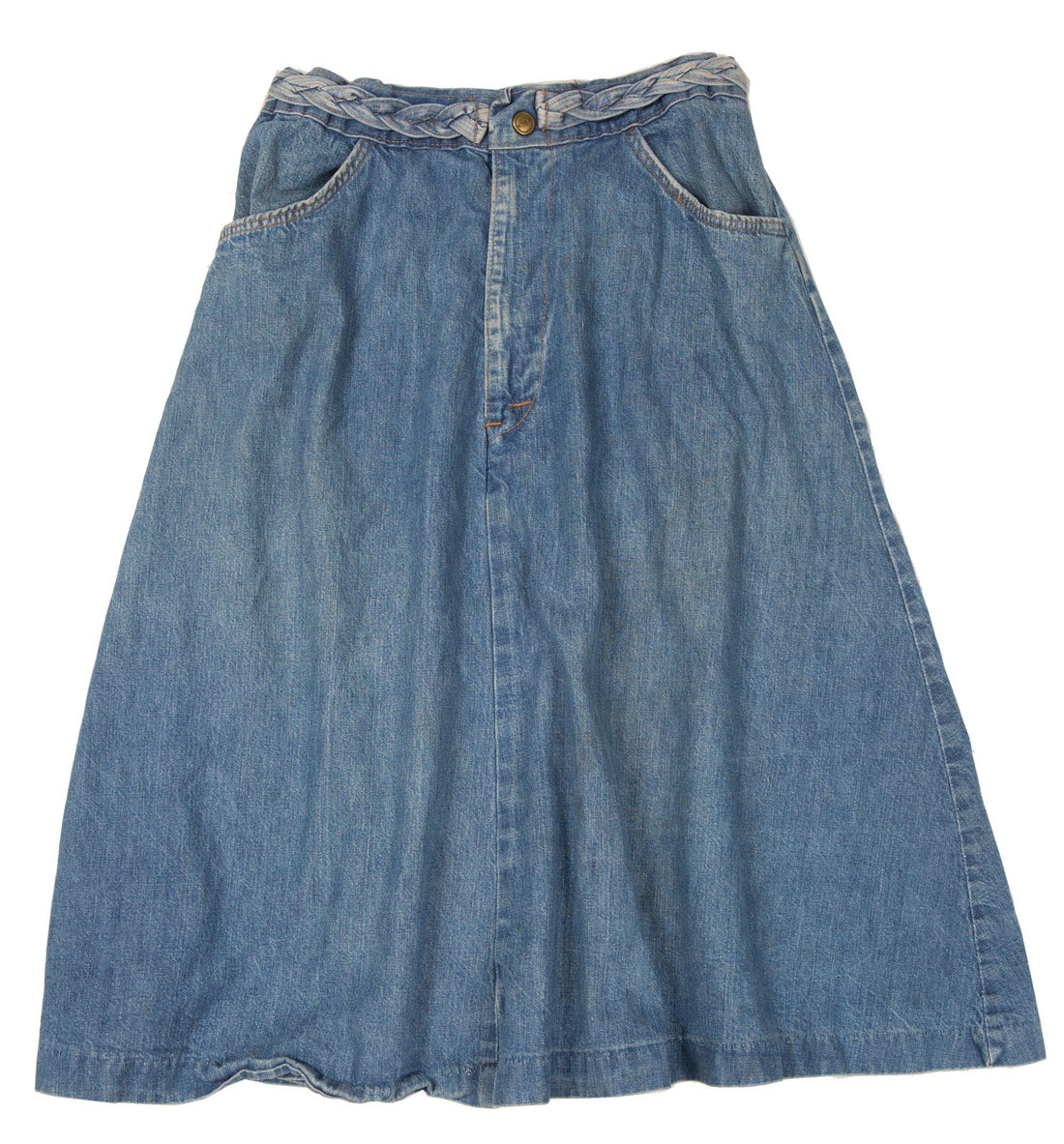 Vintage 60's Denim A-line Skirt with denim braiding - Vintage - Iron and Resin