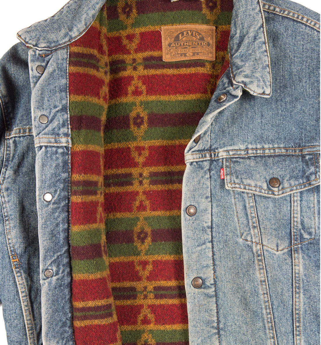 70's Levis Jean Jacket with Wool Lining - Vintage - Iron and Resin